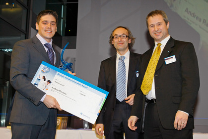 Andrea Ravasio, awardee, with Christian Paulik, External Research Manager and Alfred Stern, Vice President Innovation and Technology, both Borealis