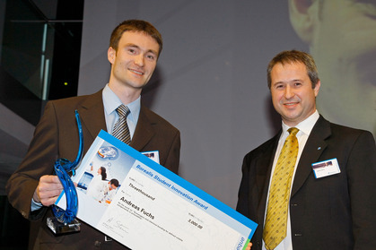 Andreas Fuchs, awardee, with Alfred Stern, Vice President Innovation and Technology, Borealis