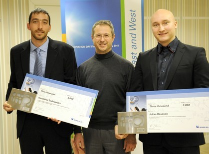 Borealis Senior Vice President Alfred Stern (middle) with the 2010 Borealis Student Innovation Award winners Dr. Vassileios Touloupides (left) and Jukka Räsänen