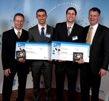 Awardees Matteo D'Amato and Amir Jabri with Alfred Stern, Vice President Innovation and Technology, and Mark Garrett, CEO, both Borealis