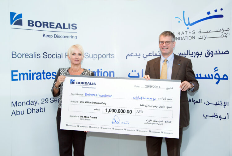 From left to right: Mrs. Clare Woodcraft-Scott, CEO- Emirates Foundation and Mr. Mark Garrett, Chief Executive Borealis.