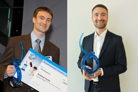 Andreas Fuchs, Borealis Senior Scientist, with his Borealis Student Innovation Award trophy in 2008 and today.