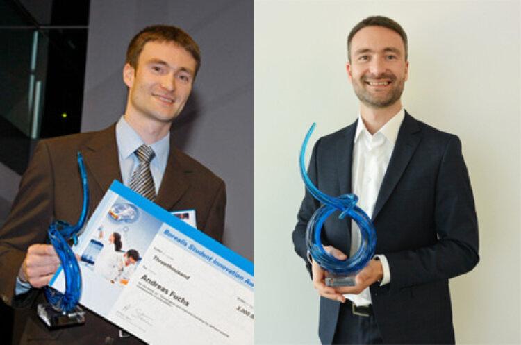 Andreas Fuchs, Borealis Senior Scientist, mit seiner Borealis Student Innovation Award Trophäe 2008 und heute.