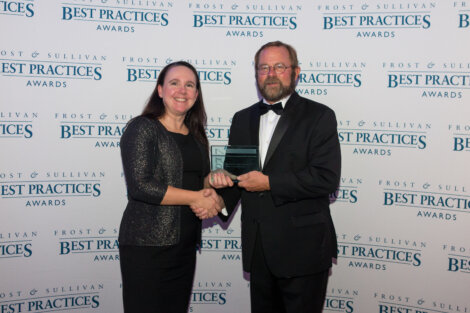 Wendy Loyens, Borealis Manager Business Growth EHV/HV,  at the Frost & Sullivan 2017 Best Practices Awards ceremony in London, UK