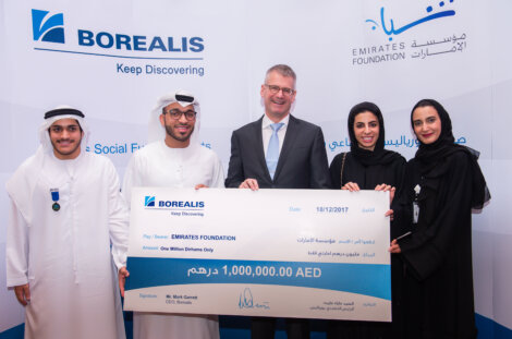 Photo: Mr Salem Al Katheeri, Director- Support Services/  Emirates Foundation (center) and Mark Garrett, Borealis Chief Executive.