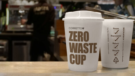 Photo: Corretto™ is a cost-neutral, recyclable, re- usable and returnable to-go cup for quick service  restaurants, food service providers and  events / stadiums which uses Bockatech EcoCore™ and the grades Borealis  BH381MO and Borealis Daploy™ WB140HMS.