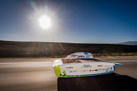 Photo: Borealis Quentys™ grades are used to encapsulate and protect the solar cells mounted on the racing car built by the Agoria Solar Team.
