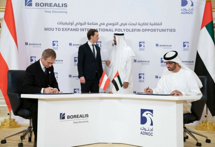 photo: Borealis CEO Alfred Stern & Dr Sultan Al Jaber, Minister of State and ADNOC group chief executive signing agreements to strengthen the partnership between ADNOC and Borealis.
