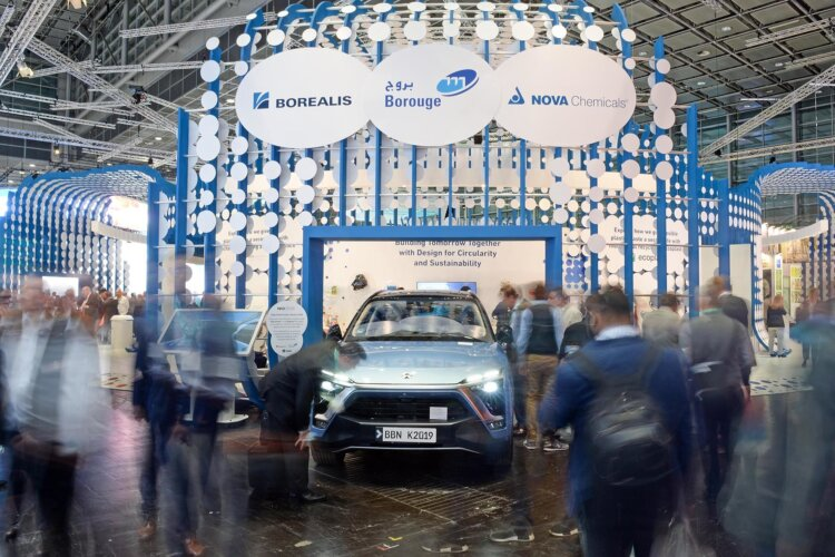 Photo: The new NIO ES8 is displayed at the Borealis, Borouge & Nova Chemicals stand at the K 2019
