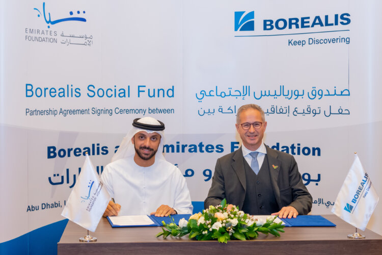 photo: Partnership Agreement between Borealis and Emirates Foundation signed by Alfred Stern, Borealis CEO & H.E. Ahmed Al Shamsi, Acting CEO Emirates Foundation.