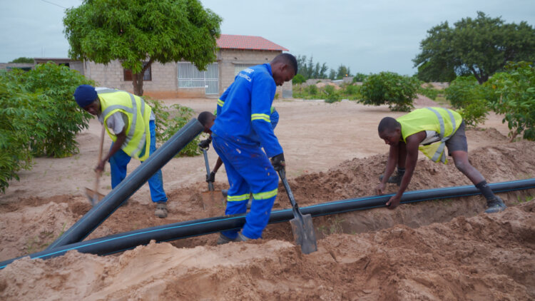 Photo: The works carried out included constructing water supply networks using HDPE PE100 pipes, repairing existing water tanks, training the SSOs' staff to manage, operate and maintain pipeline systems.
